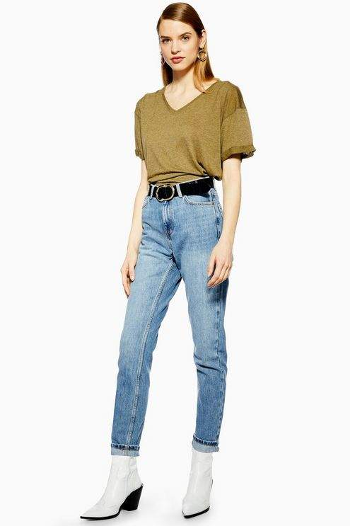 Topshop Womens Mid Blue Mom Jeans