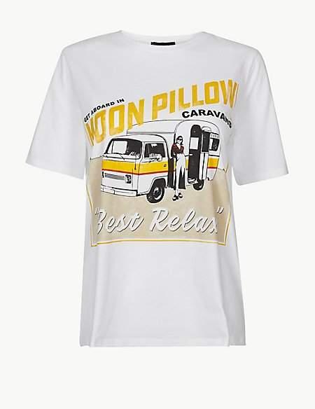 M&S Collection Pure Cotton Caravan Straight Fit T-Shirt