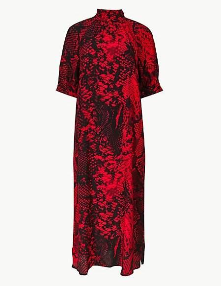 M&S Collection Animal Print Shift Midi Dress