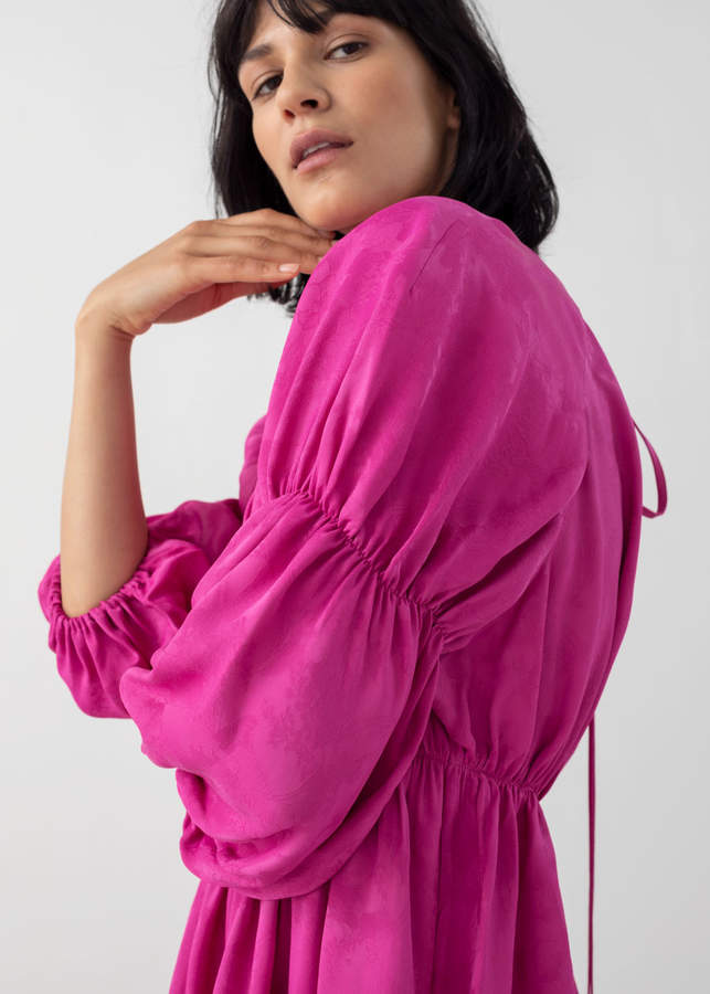 And other stories Satin Puff Sleeve Mini Dress