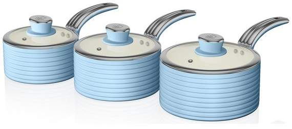 Swan Retro 3 Piece Pan Set - Blue
