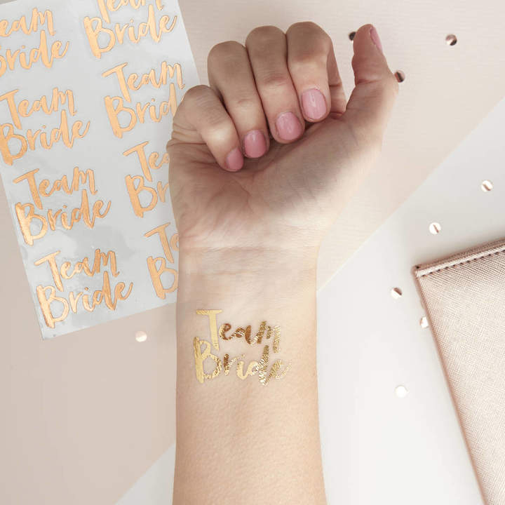 Ginger Ray Pk 16 Team Bride Hen Party Temporary Tattoos Rose Gold