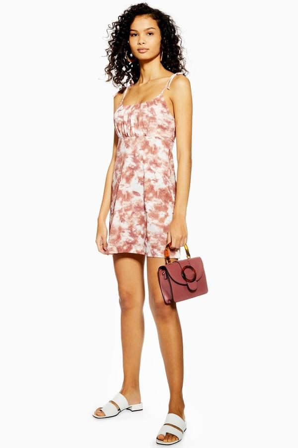 Topshop Womens Tie Dye Crinkle Mini Dress - Mauve