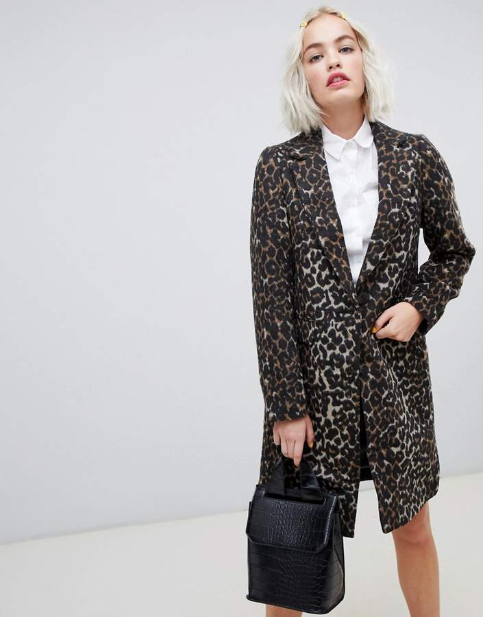 New Look Brushed Leopard Print Tailored Coat
