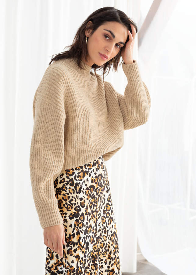 And other stories Cotton Blend Rib Knit Sweater