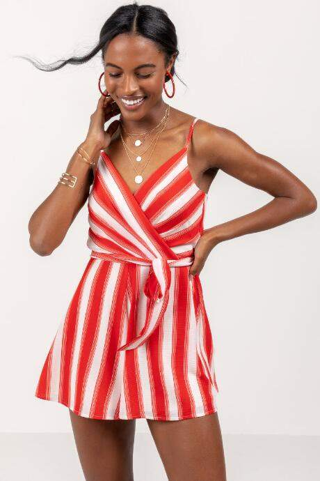 Francesca's Leslie Striped Surplice Romper - Red