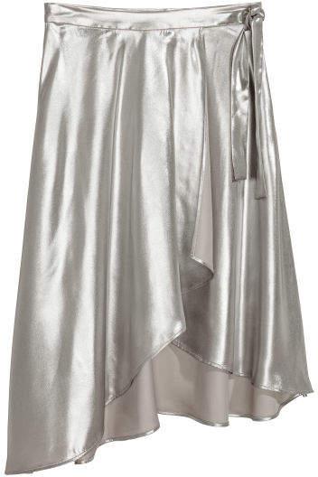 H&M - Shimmering Metallic Wrap Skirt - Silver