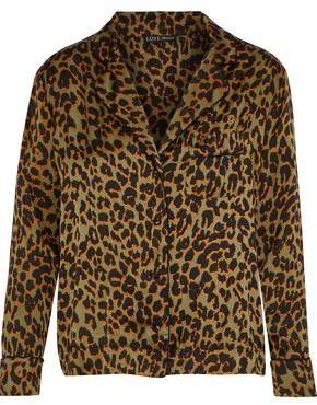 Love Stories Jude Leopard-print Crepe De Chine Pajama Top