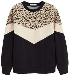 Leopard panel sweatshirt