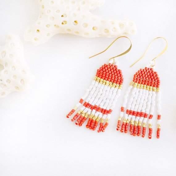 Beaded Fringe Earrings, Seed Bead Earrings, Tassel Earrings, Minimalist Beaded Earrings, Statement Beaded Earrings, Coral, Orange, Moroccan