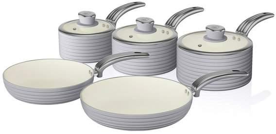 Swan Retro 5 Piece Pan Set - Grey