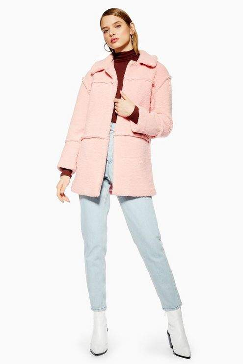 Topshop Womens Borg Coat - Rose