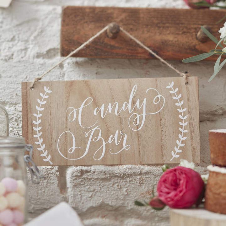 Ginger Ray Boho 'Candy Bar' Wooden Sign
