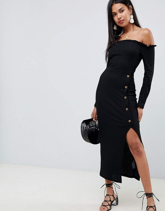 Asos Design ASOS DESIGN off shoulder rib maxi dress with faux horn buttons