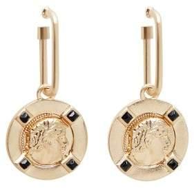 Coin pendant earrings