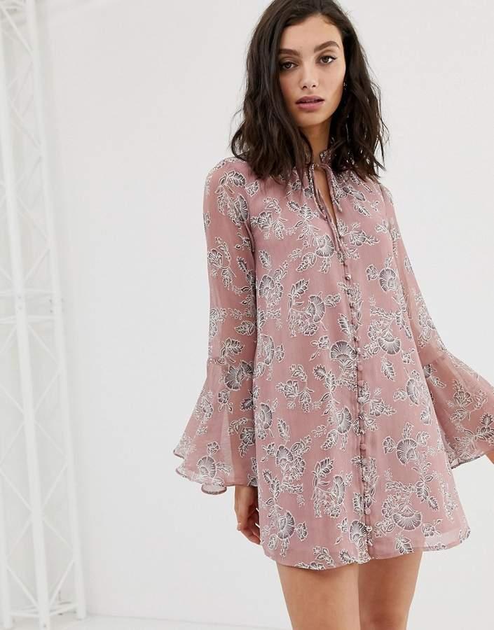 En Crème En Creme button up swing dress in vintage floral