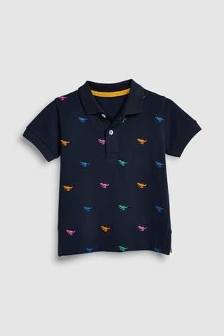 Boys Next Navy Dinosaur Embroidery Polo T-Shirt (3mths-7yrs)