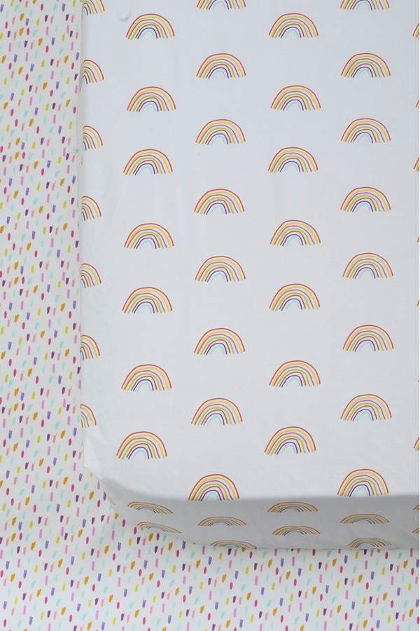 Next 2 Pack Rainbow Fitted Sheet - White