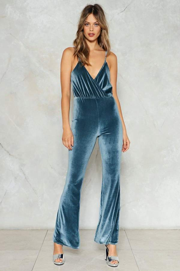 Nasty Gal Get Down Velvet Jumpsuit