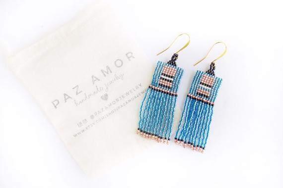 Geometric Beaded Earrings, Fringe Earrings, Boho Beaded Earrings, Statement Dangle Earrings, Moroccan style earrings, Blue Pink Earrings
