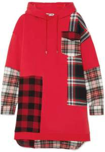 McQ Dresses   ShopStyle     McQ Hooded Oversized Patchwork Cotton jersey And Checked Flannel Dress    Red