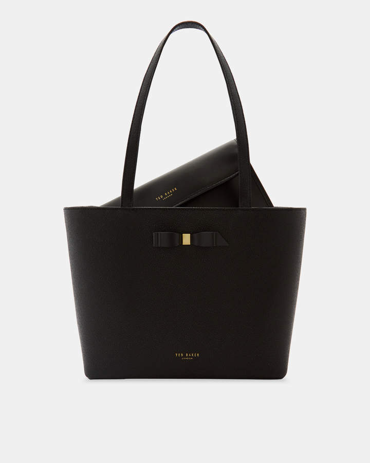 Ted Baker JJESICA Bow detail leather shopper bag