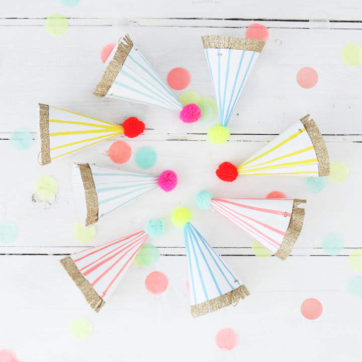 Postbox Party Colourful Neon And Gold Mini Party Hats
