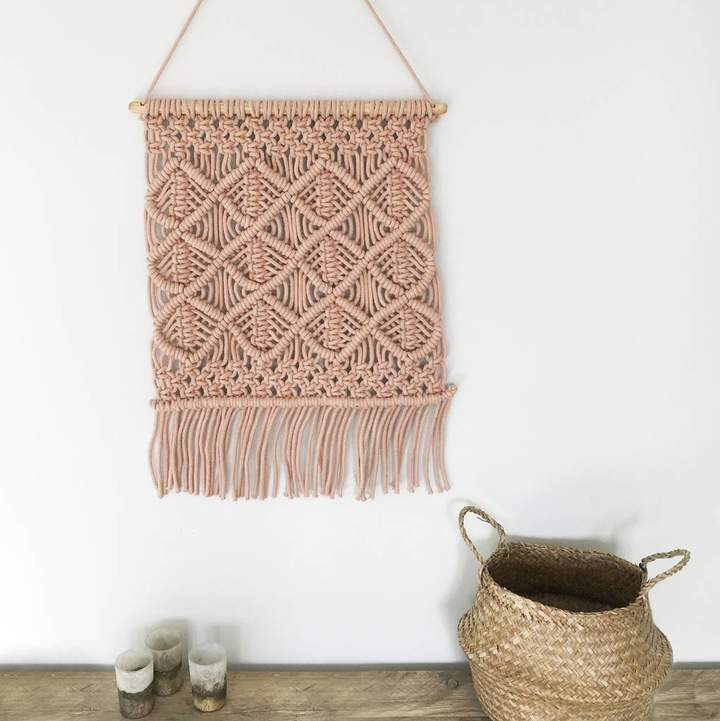 The Den & Now Macrame Pink Wall Hanging