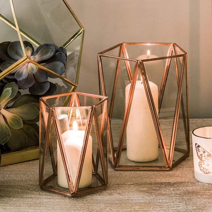 Copper Triangular Tea Light Holder