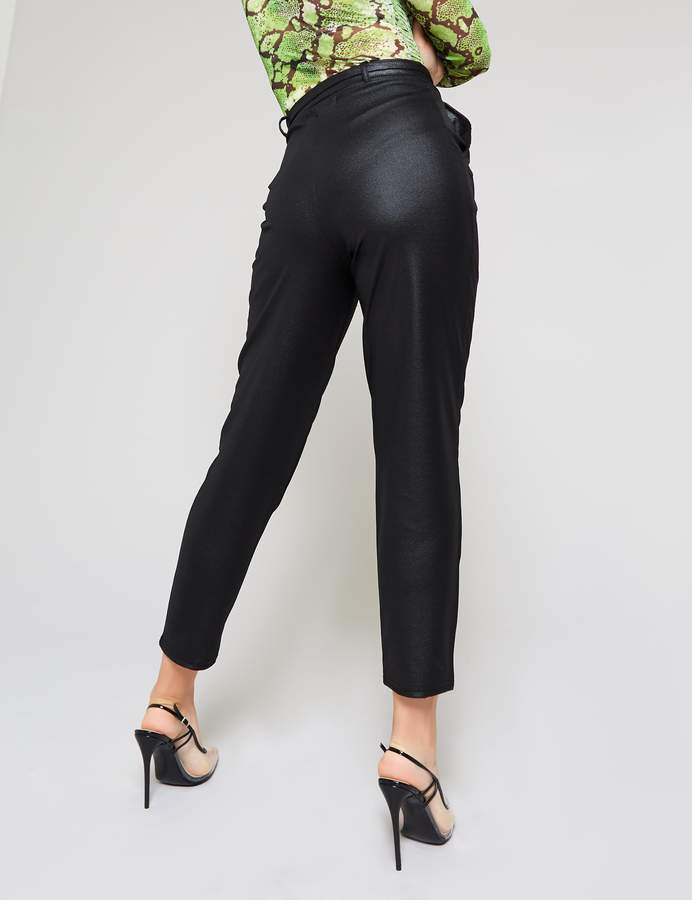 Public Desire PU Paperbag Waist Belted Trousers