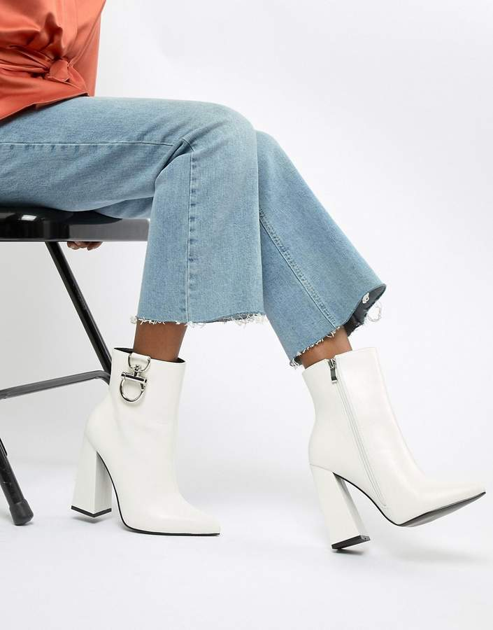 Public Desire Forever white silver hardwear boots