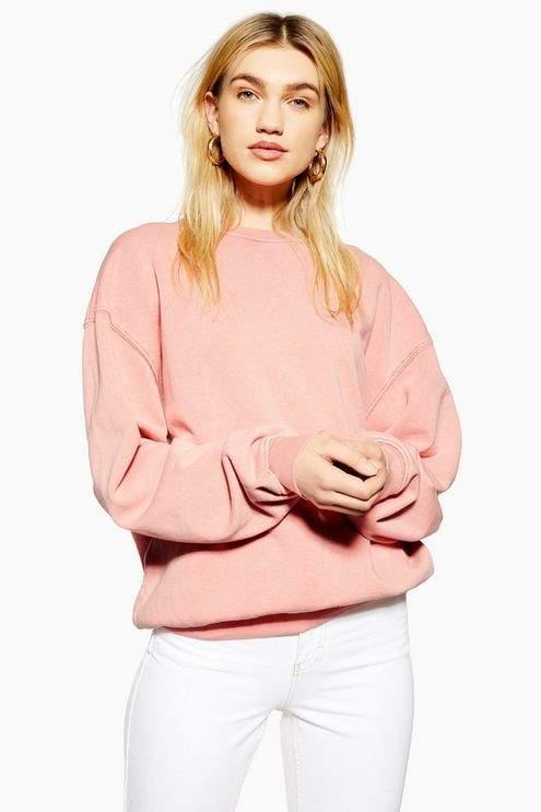 Topshop Womens Stonewash Sweatshirt - Pink