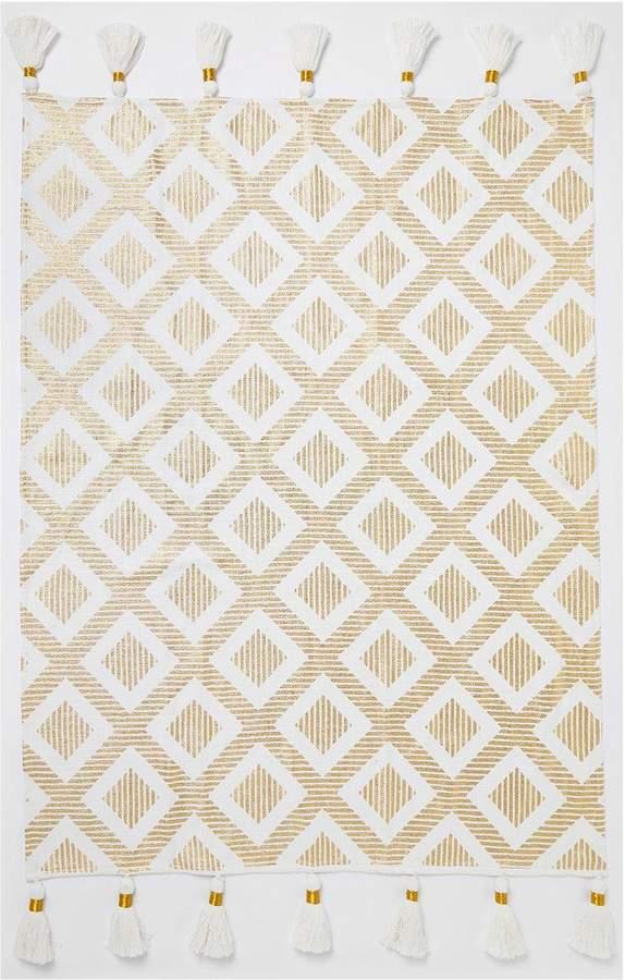 a9c8e81f5629 River Island Gold Print Tassel Throw