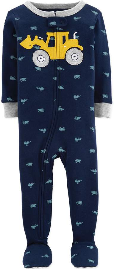 Carter'S carter's& Toddler Construction Truck Snug-Fit Cotton Pajama in Navy