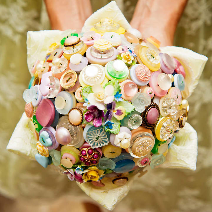 Beaubuttons Flowers And Lace Pastel Button Bouquet