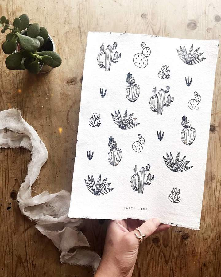 Aimee Willow Designs 'Party Time' Cactus Print On Handmade Paper