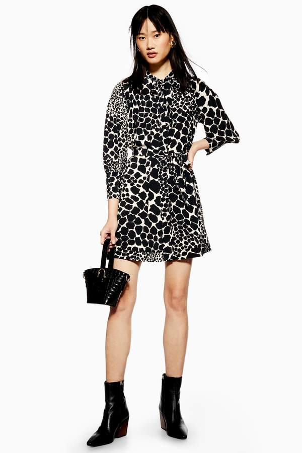 Giraffe Pintuck Mini Dress