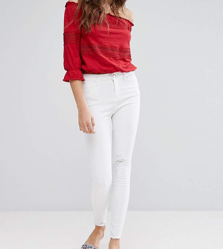 Miss Selfridge Frayed Hem Skinny Jeans