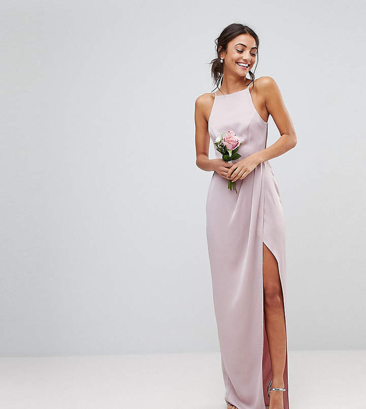 Asos Tall Asos Design Tall Bridesmaid Drape Front Strappy Back Maxi Dress
