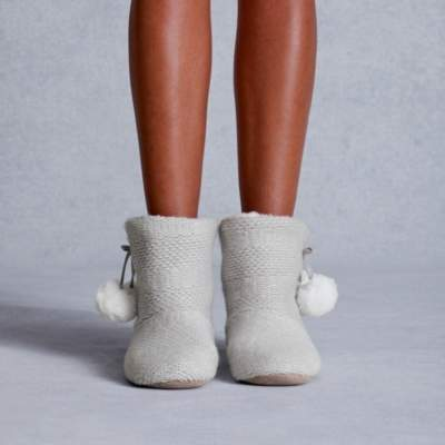 The White Company Knitted Pom-Pom Slipper Boots