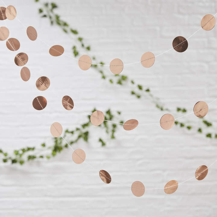 Ginger Ray Rose Gold Circle Garland For Wedding And Parties