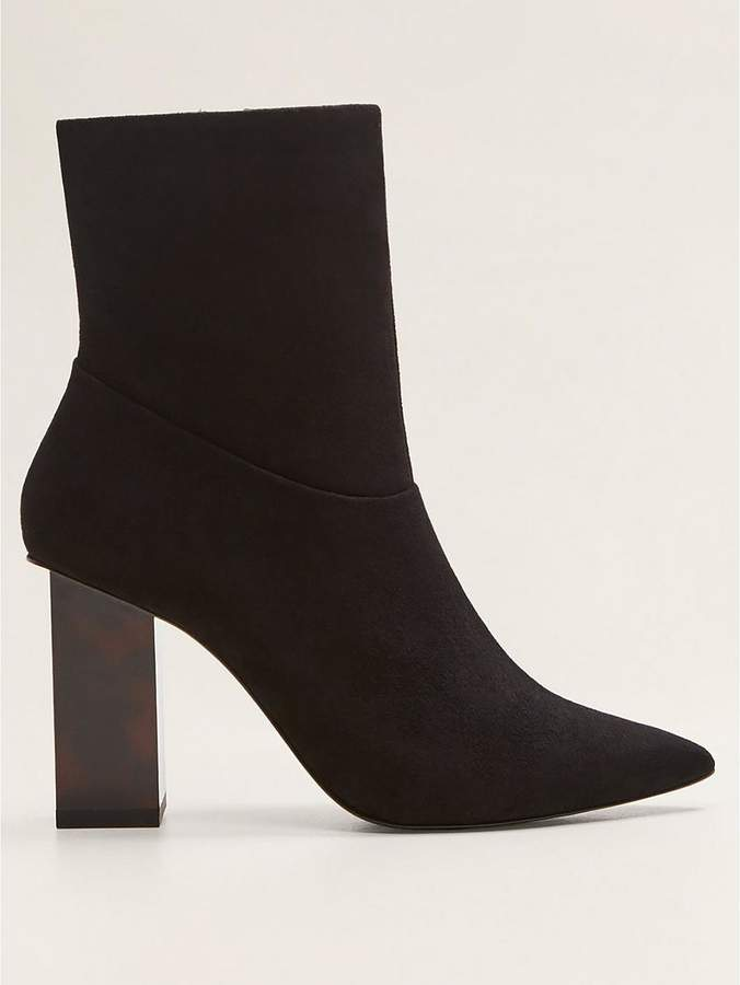 Mango Interest Heel Suede Ankle Boots - Black