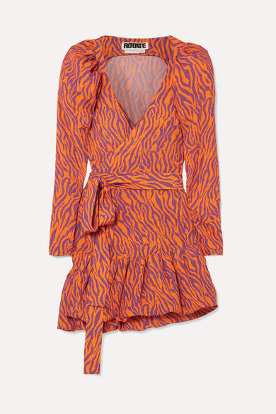 Rotate Birger Christensen ROTATE Birger Christensen - Zebra-print Twill Wrap Mini Dress - Orange