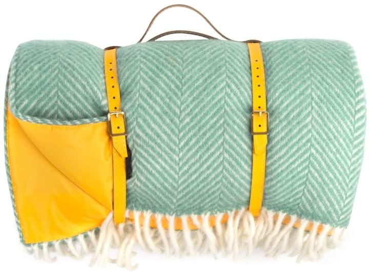 Heating & Plumbing London - Pure New Wool Waterproof Picnic Blanket Mint Green & Yellow
