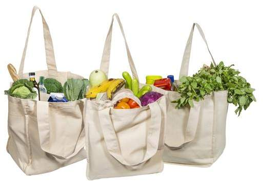 Organic Cotton Tote Bags with Sleeves - Extremely Sturdy and High Quality Grocery Tote Bags