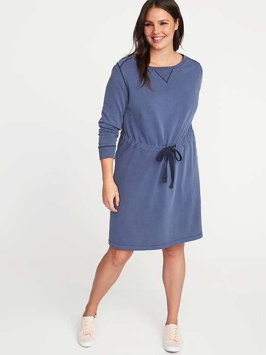 plsu size sweatshirt dress cinch waist