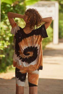 Urban Outfitters UO Black + Orange Tie-Dye Oversized T-Shirt