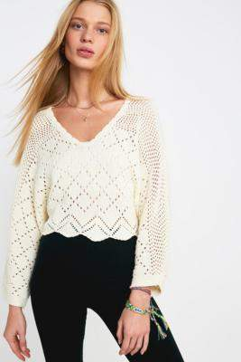 Urban Outfitters UO Petra Pointelle Knit Jumper