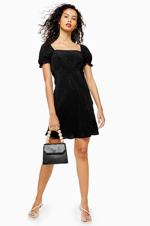 Topshop Womens Black Jacquard Mini Square Neck Prairie Tea Dress - Black
