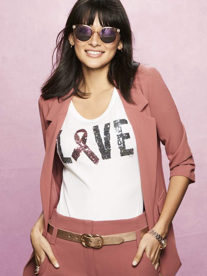 "New York & Company Sequin ""Love"" Graphic Logo Tee"
